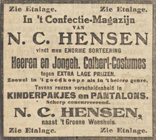 Advertentie N.C. Hensen