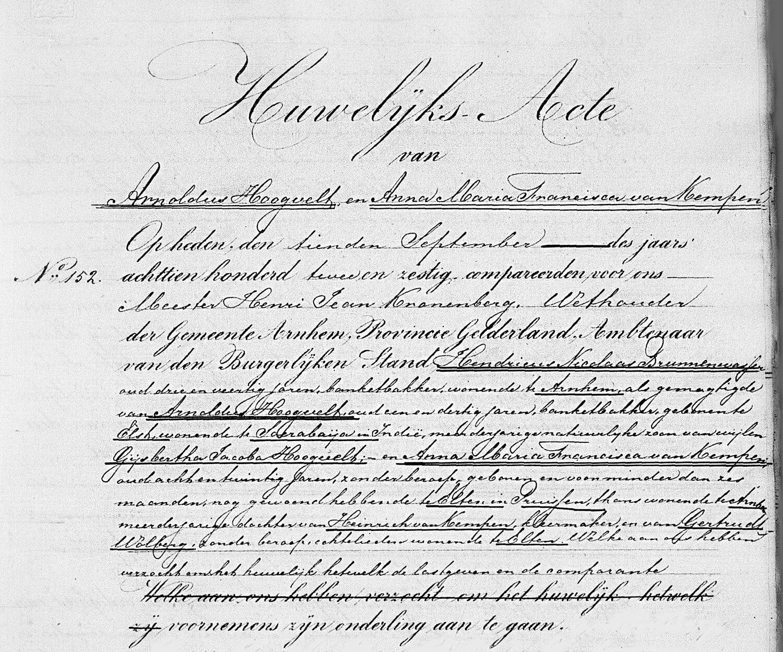 Arnoldus Hoogvelt liet zich vertegenwoordigen door Hendricus Nicolaas Brunnenwasser (Arnhem, 10 september 1862)