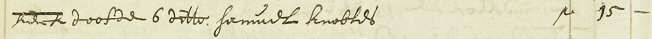 Begraafinschrijving Samuel Knowles