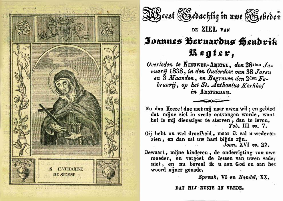 Bidprentje Joannes Bernardus Regter
