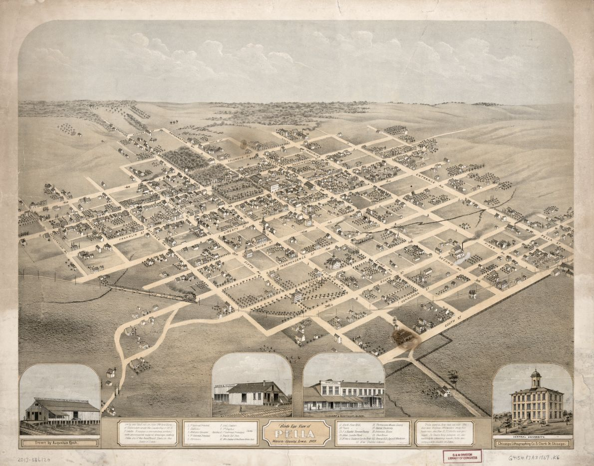 Birds eye view of Pella, Marion County, Iowa, 1869
