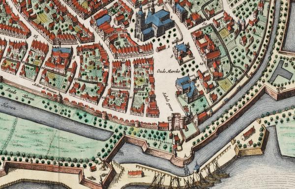 De Markt in Arnhem met het oude stadhuis en 't Hof van Nassau (1649)
