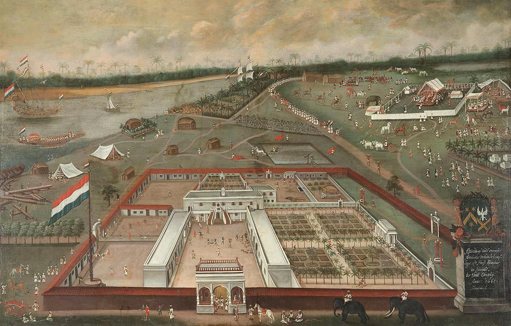 De factorij of loge van de Verenigde Oostindische Compagnie te Hougli in Bengalen