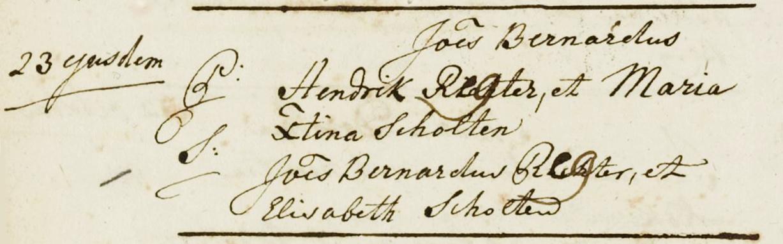 Doopinschrijving Joannes Bernardus Regter