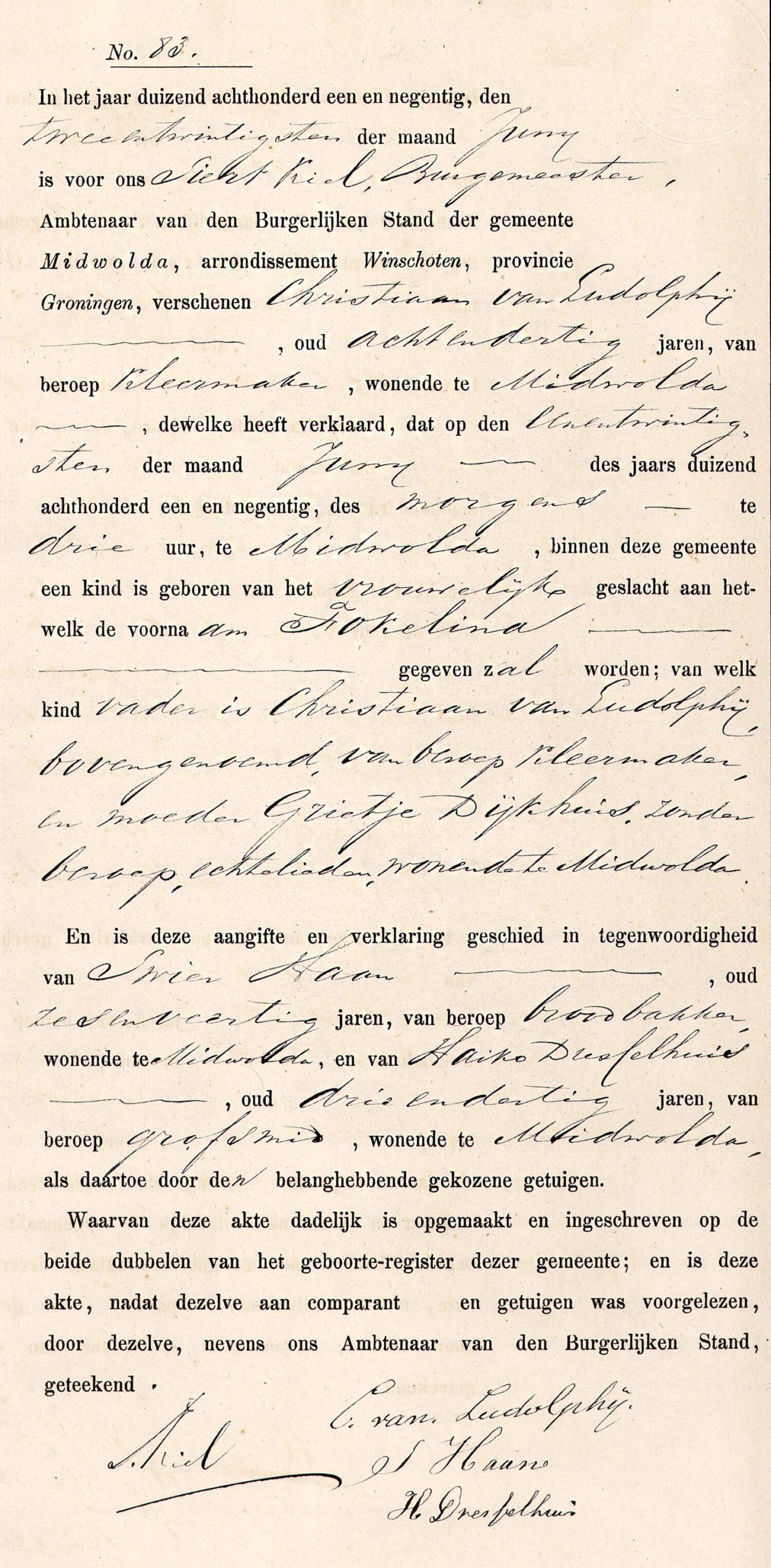 Geboorte Fokelina van Ludolphij, Midwolda 21 juni 1891