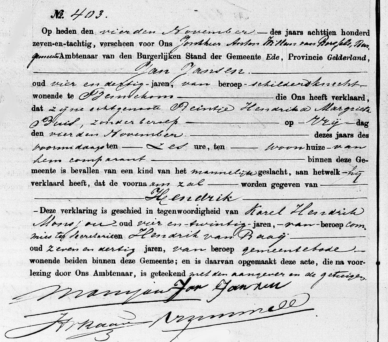 Geboorte Hendrik Jansen, Ede 4 november 1887