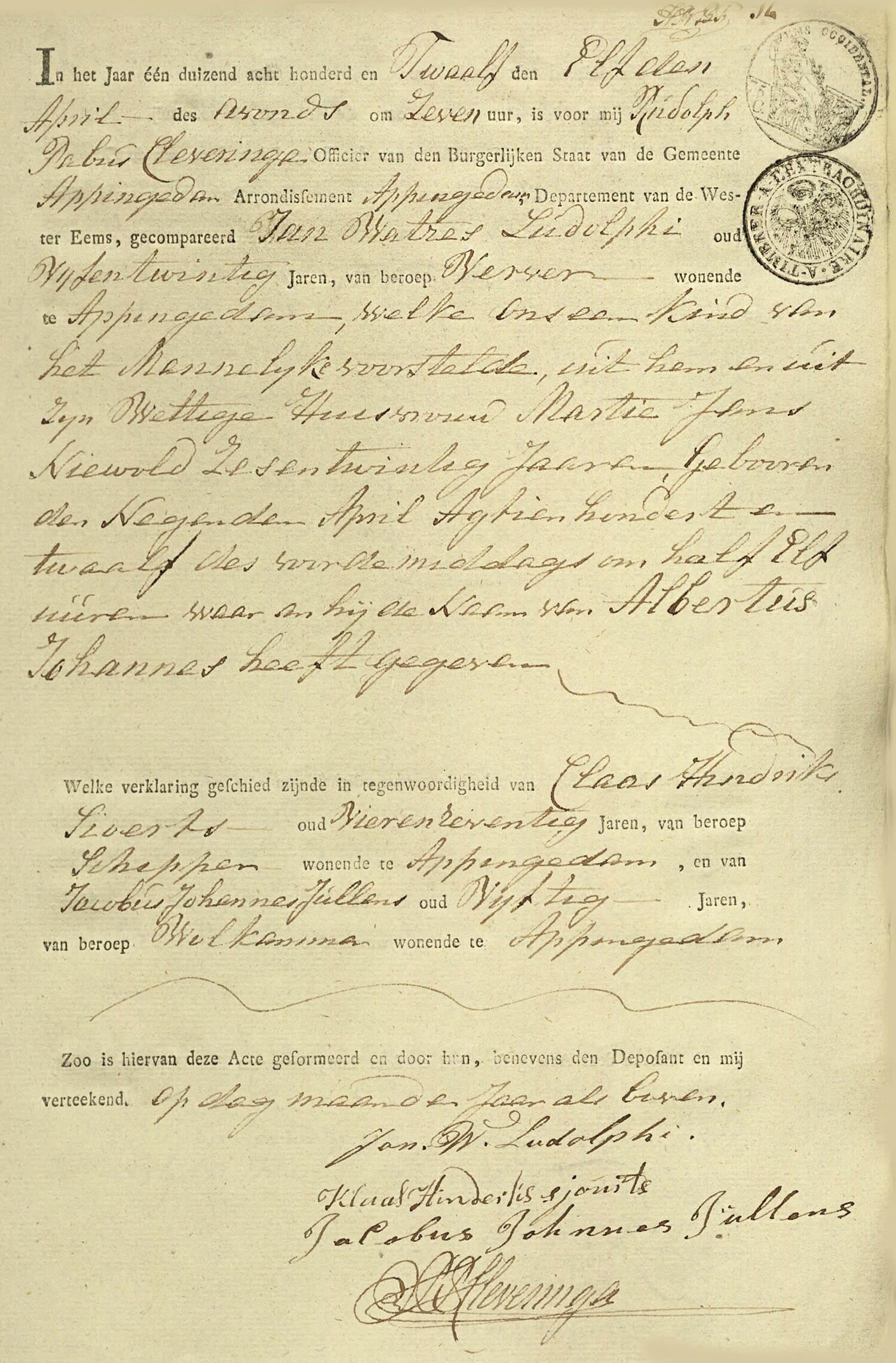 Geboorteakte Albertus Johannes van Ludolphi