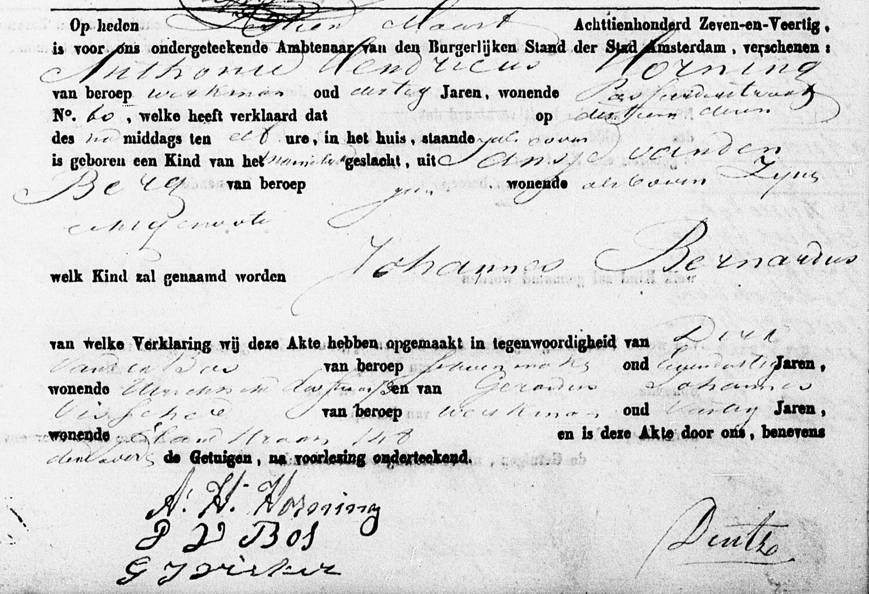 Geboorteakte Johannes Bernardus Horning