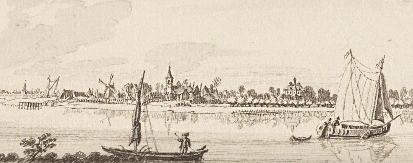 Gezicht over de Lek op Ameide en slot Herlaer door Jan de Beijer