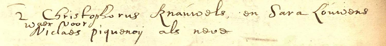 Huwelijk Christophorus Knowles en Sara Louwens, Groningen 6 juni 1663