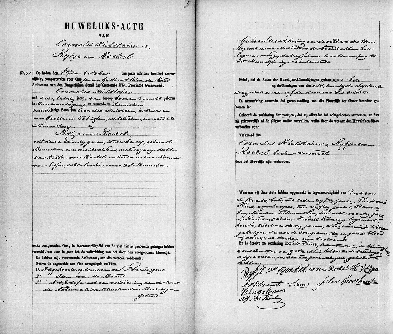 Huwelijk Cornelis Hulstein en Rijkje van Roekel