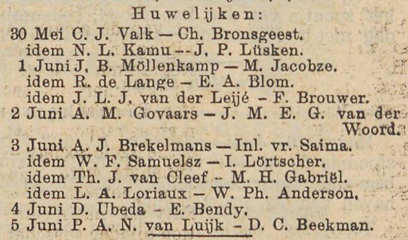 Huwelijk D. Ubeda en E. Bendy