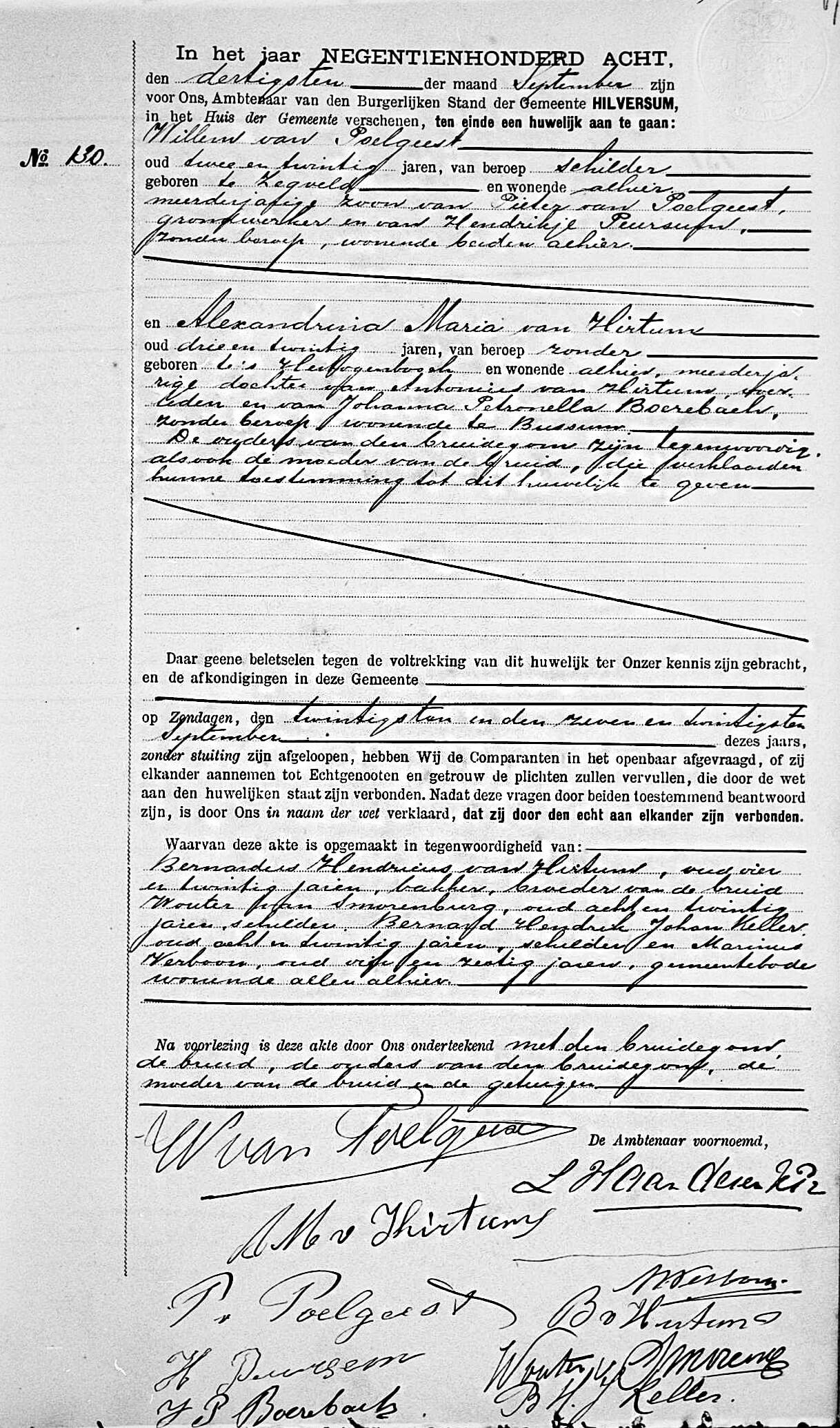 Huwelijksakte Alexandrina Maria van Hirtum en Willem van Poelgeest