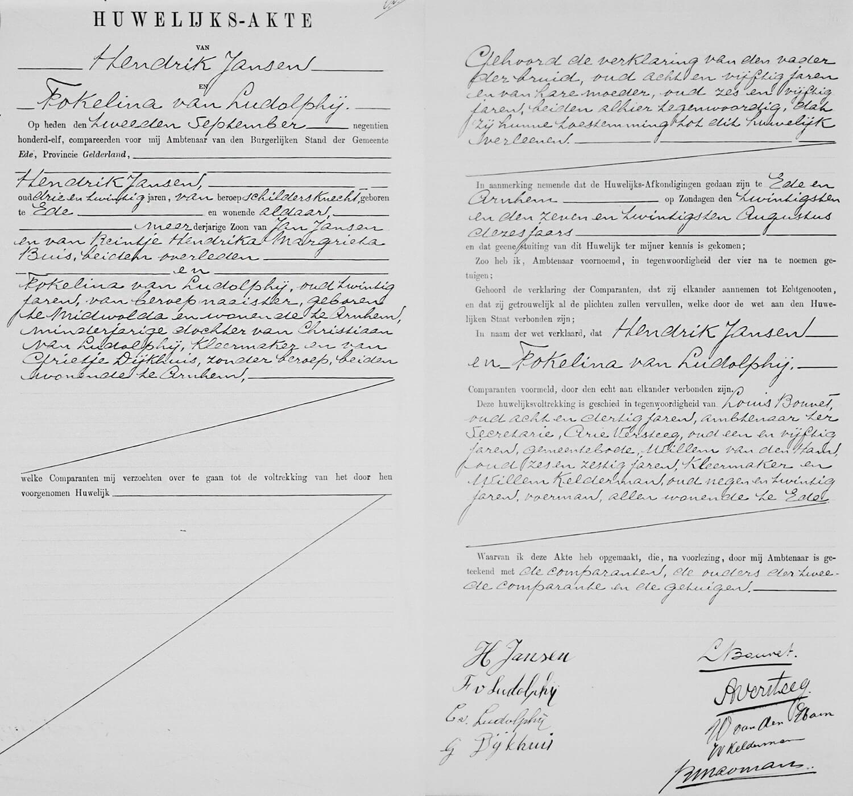Huwelijksakte Hendrik Jansen en Fokelina van Ludolphij