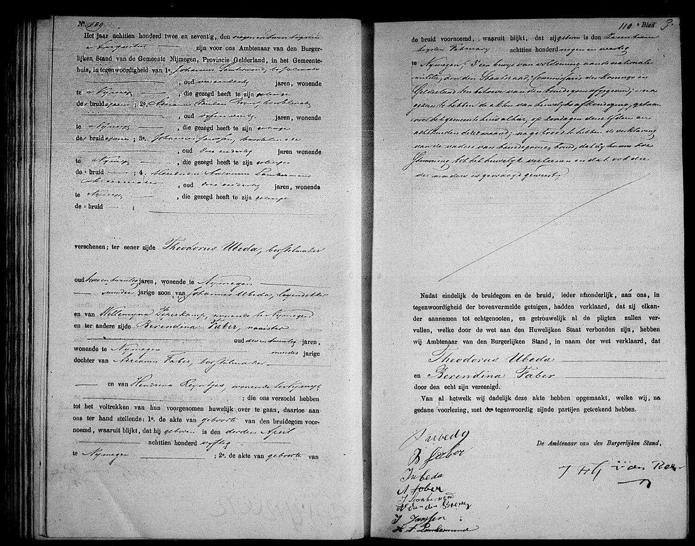 Huwelijksakte Theodorus Ubeda en Berendina Faber, Nijmegen 29 augustus 1872