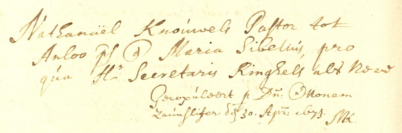 Huwelijksinschrijving Nathanael Knowles en Maria Sibelius