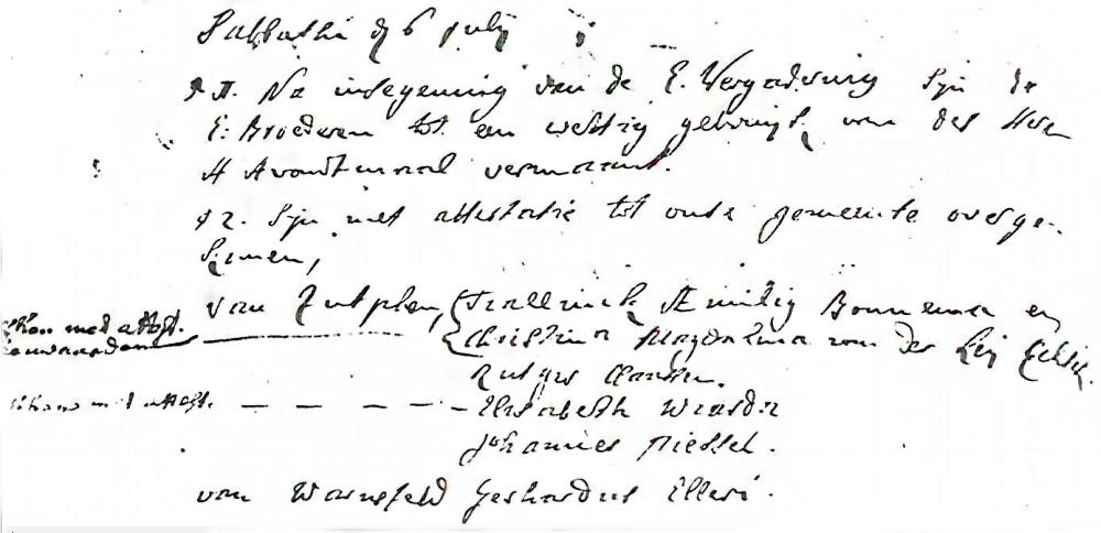 Ingekomen Gerardus, Wageningen 6 juli 1737