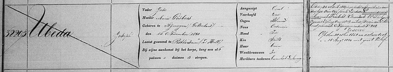 Inschrijving stamboek 7e Regiment Infanterie