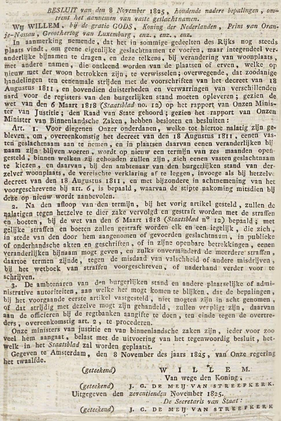 Koninklijk Besluit omtrent het aannemen van vaste geslachtsnamen.