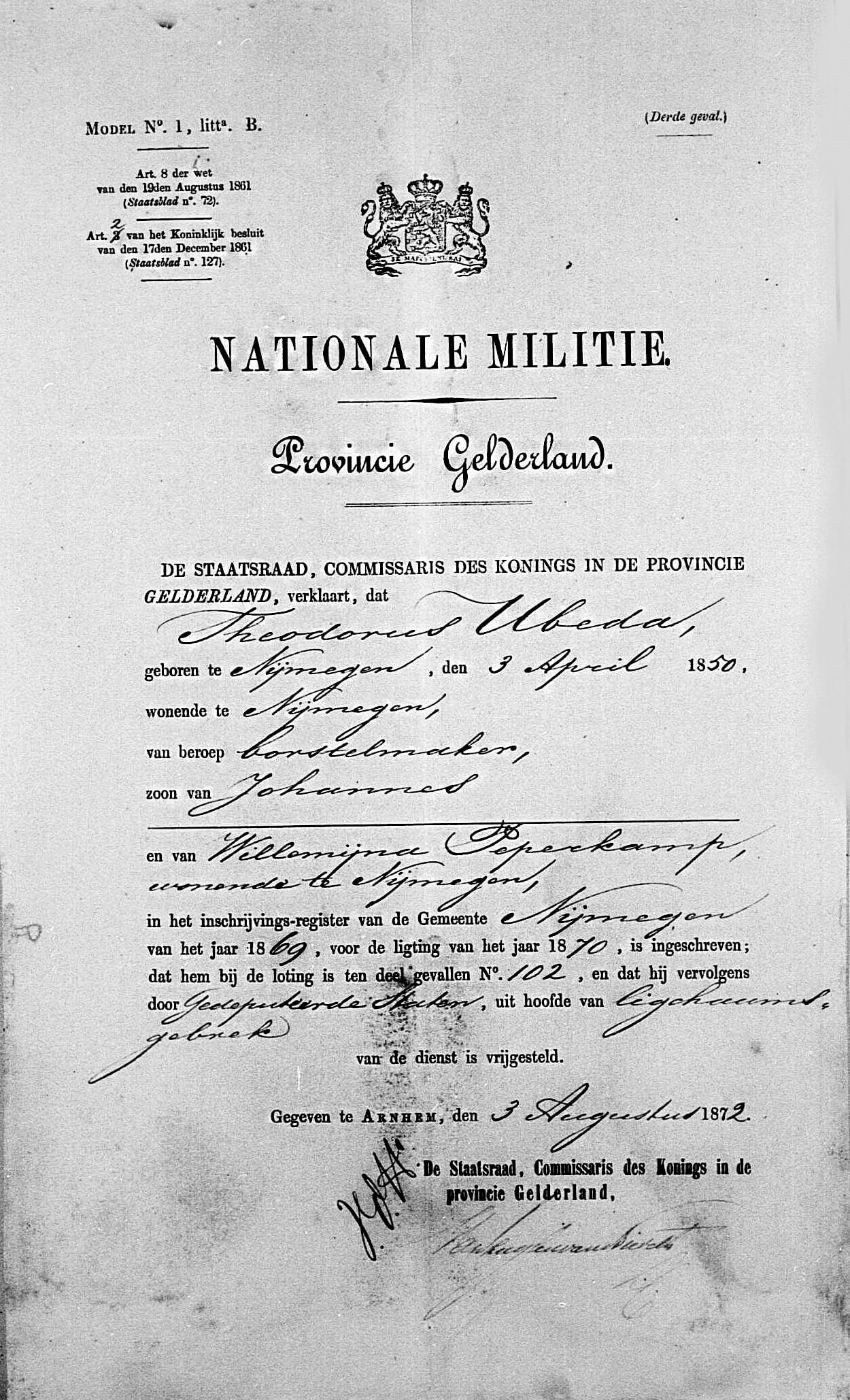 Nationale Militie Theodorus Ubeda