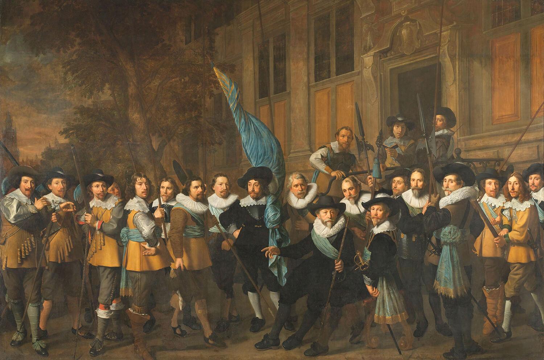 Officieren en andere schutters van wijk IV te Amsterdam onder leiding van kapitein Jan Claesz van Vlooswijck en luitenant Gerrit Hudde.