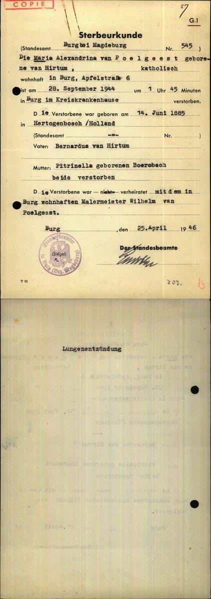 Duitse overlijdensakte van Alexandrina Maria
