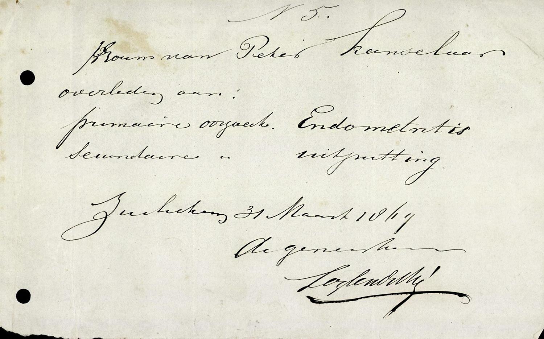 Overlijdensverklaring uit 1869
