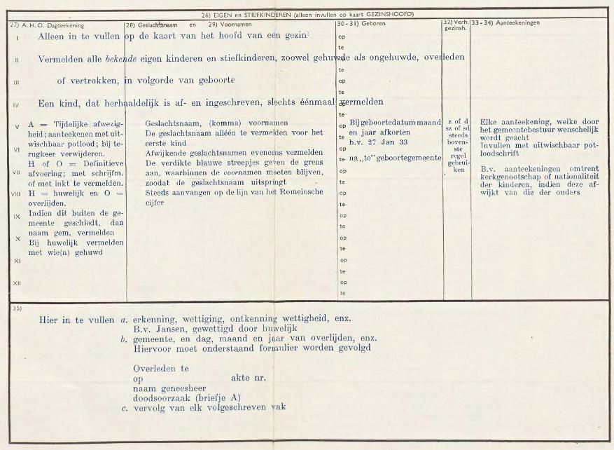 Voorbeeld achterzijde uit de Bevolkingsboekhouding