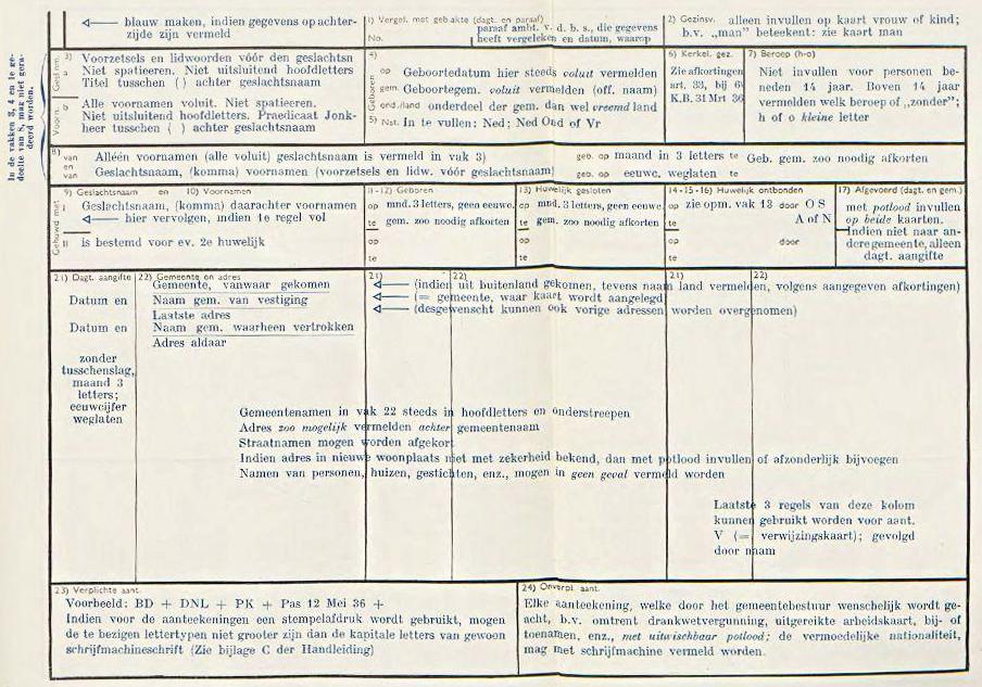 Voorbeeld voorzijde uit de Bevolkingsboekhouding